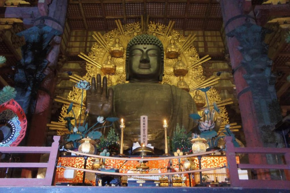 The great buddha at Todaiji temple in Nara—very calm and peaceful at night