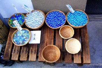 Marbles in every shade of Cerulean blue at Sagano Arashiyama just 17 minutes ride from Kyoto Station