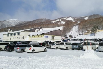 The slopes from the parking lot