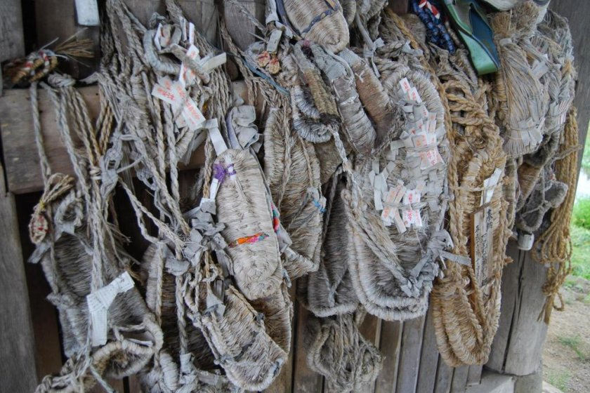 Waraji sandals from pilgrims hanging at the main temple gate