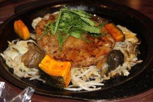 Hamburger with radish, sprouts, pumpkin squash and mushrooms