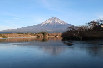 In good weather, Mount Fuji's reflection can be seen in the waters