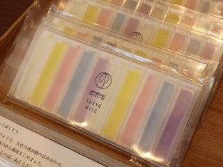 Colorful sticks of agar with modern flavors like lavender, jasmine, and chamomile.