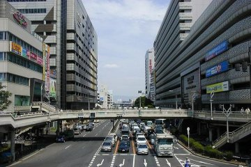 Tennoji Station South Exit looking eastwards with Miyako Hotel on the right