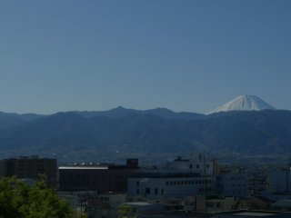 You can see the snow capped Mt. Fuji from the castle