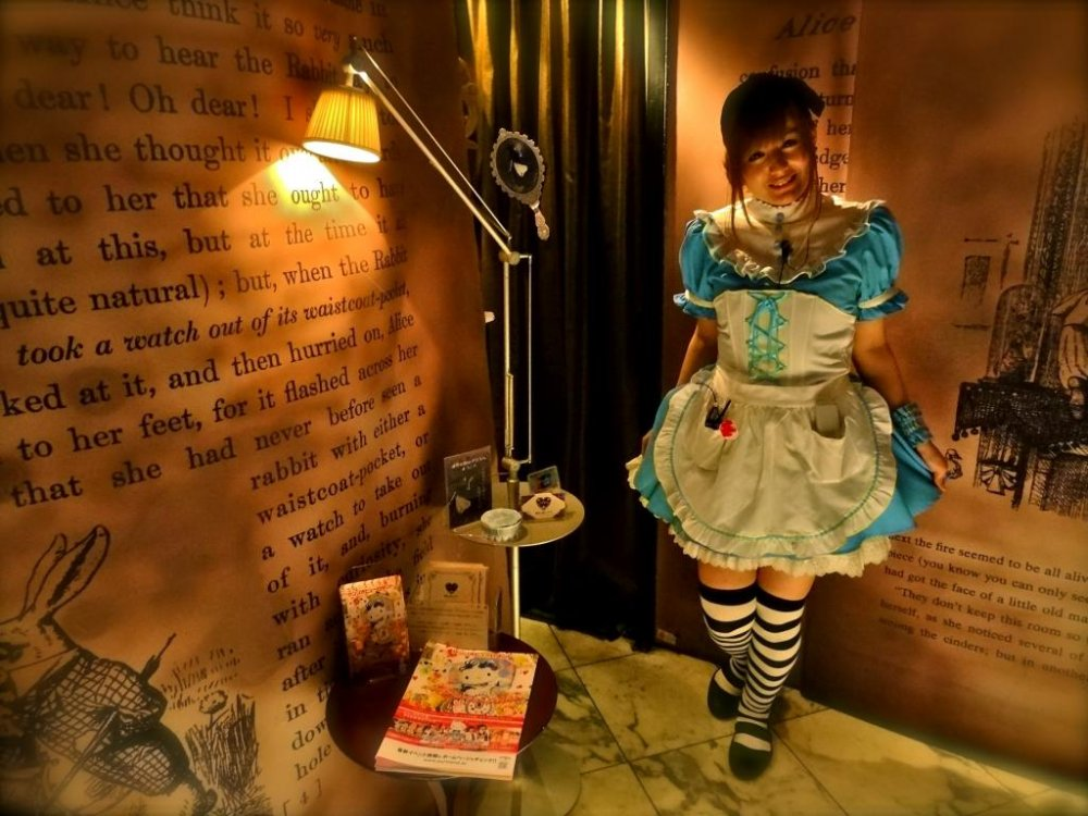 "Welcome to ""Alice's Adventures in Wonderland"" restaurant! Waitresses are fully clad in Alice's signature outfit in Tokyo fashion: a white frilly apron over a light blue, knee length dress."