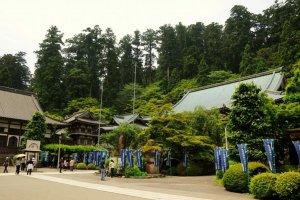 Saijoji's Gokoku-den (main hall) and Kaisan-do (hall built in memory of Emyo Zenji)