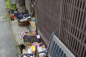 Scraps of kimono fabric line this storefront
