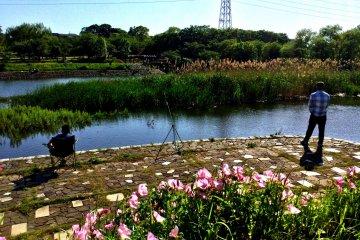 The fishing hole where Ohori River meets Teganuma