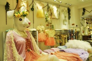 Rabbit mannequins inside a shop in Harajuku