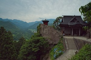 At the top, one of the famous view of Yamadera temple