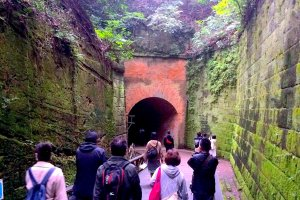 Visitors heading toward the Love Tunnel