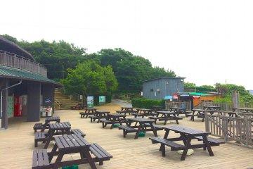 Столы для пикника и магазинчики возле входа