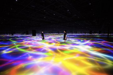Drawing on the Water Surface Created by the Dance of Koi and People - Infinity // teamLab,  2016-2018