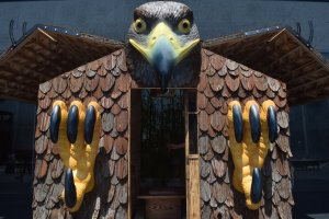 You can enter this installation and get the hawk's wings to flap!