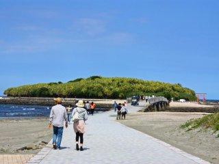 Aoshima is a short drive or train journey south of Miyazaki City. Walk across this bridge to reach the island.