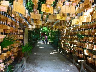 This tunnel of ema (wooden prayer plaques) leads you to a smaller shrine deeper within the jungle.