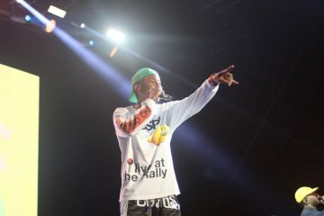 Pharrell Williams performing with N.E.R.D.
