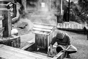 Locals cooking at Ogama - the cooking onsen