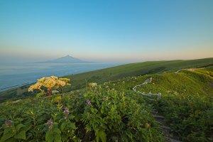 Rishiri island on the horizon