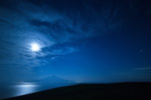 Rishiri Island in the full moon