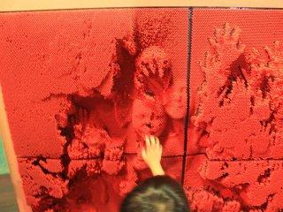 Un demi million d'épingles en plastiques peuvent être poussées par les visiteurs pour former des empreintes de main ou de visage