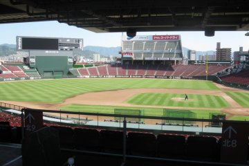 View from beneath the balcony behind home plate