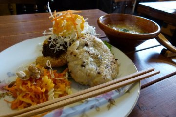 Veggie meat burger on genmai rice bun with soup