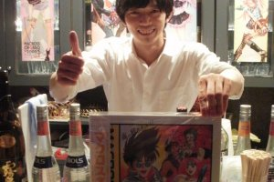 Owner Okamoto Hiroyasu with Fire Bomber laserdisc