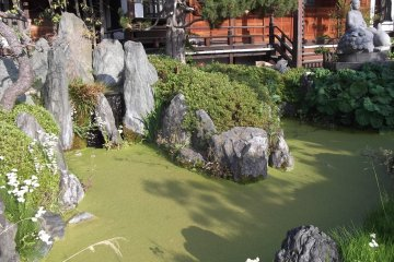 The pond in front of the worship hall at Ryuko-ji