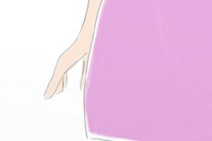 Detalhe do vestido da menina