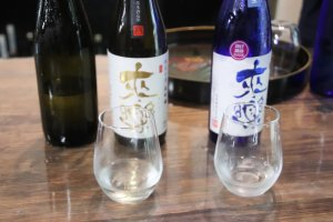 Dégustation de saké à la brasserie Ibaraki Shuzo à Uozumi.