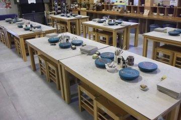 Potters' wheels in the ceramics workshop