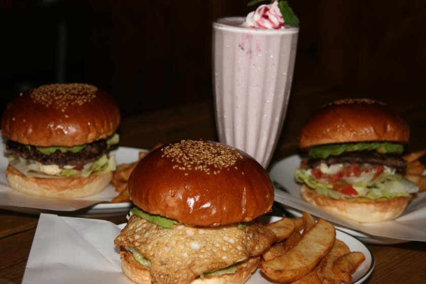 Mmmm... delicious burgers with a strawberry milkshake.