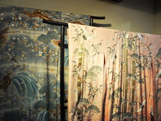 Some beautiful kimonos in the museum. The patterns on the fabric are absolutely stunning.
