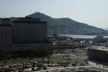 From my room I can see JR Hakodate Station, Mt.Hakodate, Motomachi and the Morning Markets