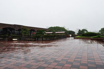 This is the terrace which is part of the restaurant. I imagine it to be a pleasant place to sit when it is not pouring with rain.