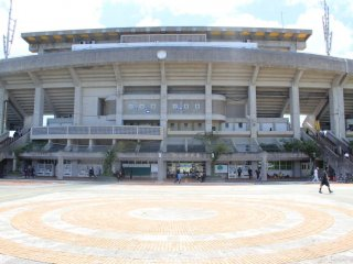The large apron in front of the stadium is docrated with circular brick patterns mimicing the Okinawan flag