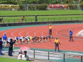 Events like the Okinawa Prefecture track and field competition for junior high students are held here