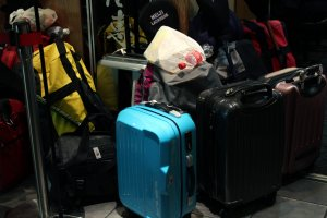 Being that Tokyo Ramen Street is inside Tokyo Station it is a common sight to see piles of luggage outside each of the ramen shops.
