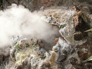 Vent under the statue blowing out steam at 100 degrees Celsius!