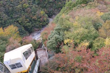 Iya Onsen Cable Car plunging into the foliage