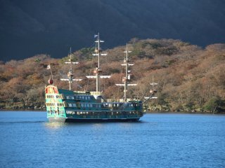 A pirate ship on Lake Ashi. This ship is used to transport tourists across the lake