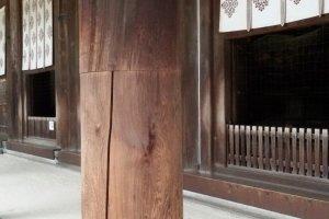 以「木榫對接法」,把古木與新木接合起來的唐招提寺金堂立柱