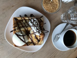 Indulgent honey toast and coffee are just two of the menu items available here