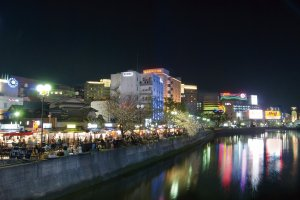 Yatai way by the river in Fukuoka
