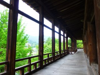A varanda que rodeia toda a sala é o lugar perfeito para se proteger da chuva