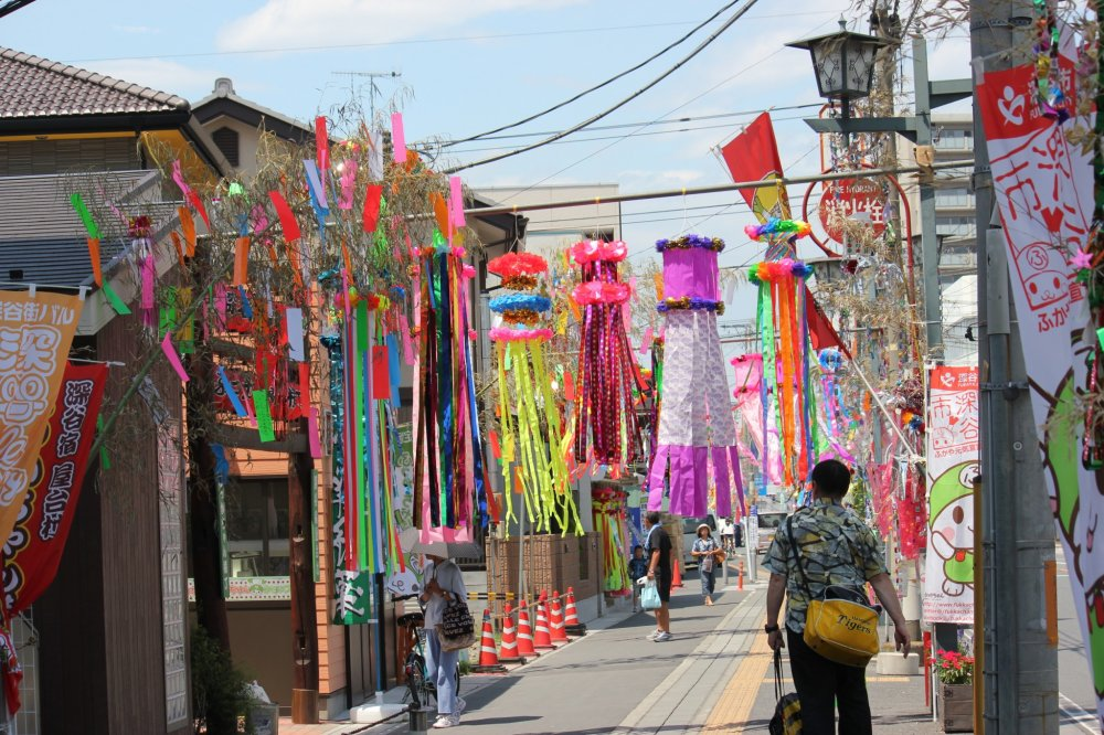 Only during the Tanabata Matsuri is the area decorated with all these big ribbons.