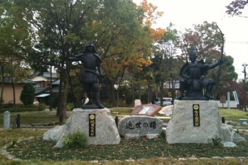 The statue of Imagawa and Oda, on the actual battle site.