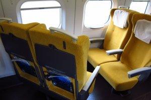 Swinging seats on the Super Komachi between Akita and Tokyo